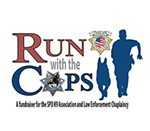 Logo of Run with the Cops - Text and image of a silhoutte of a cop and k9 running