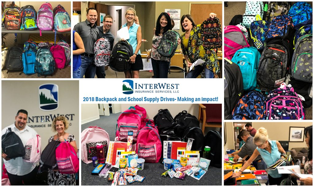 An image of a collage of IW employees running a Backpack and School Supplies Fundraiser