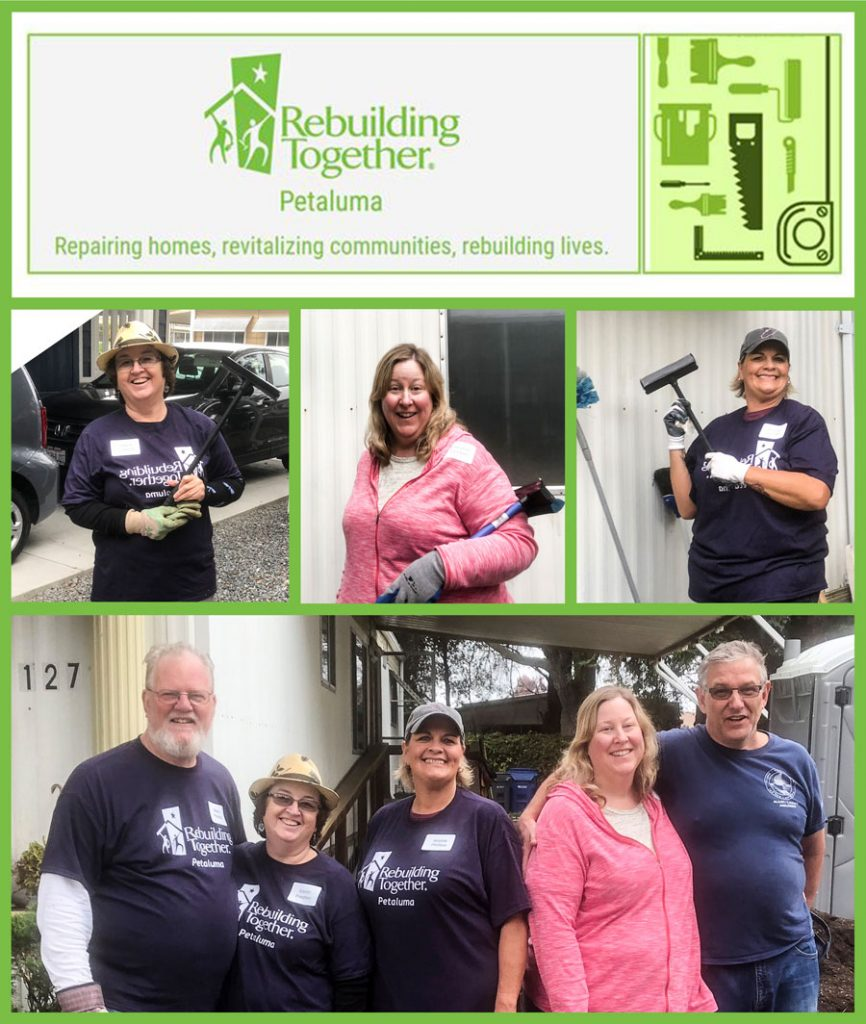 Collage of people volunteering at Rebuilding Together Petaluma