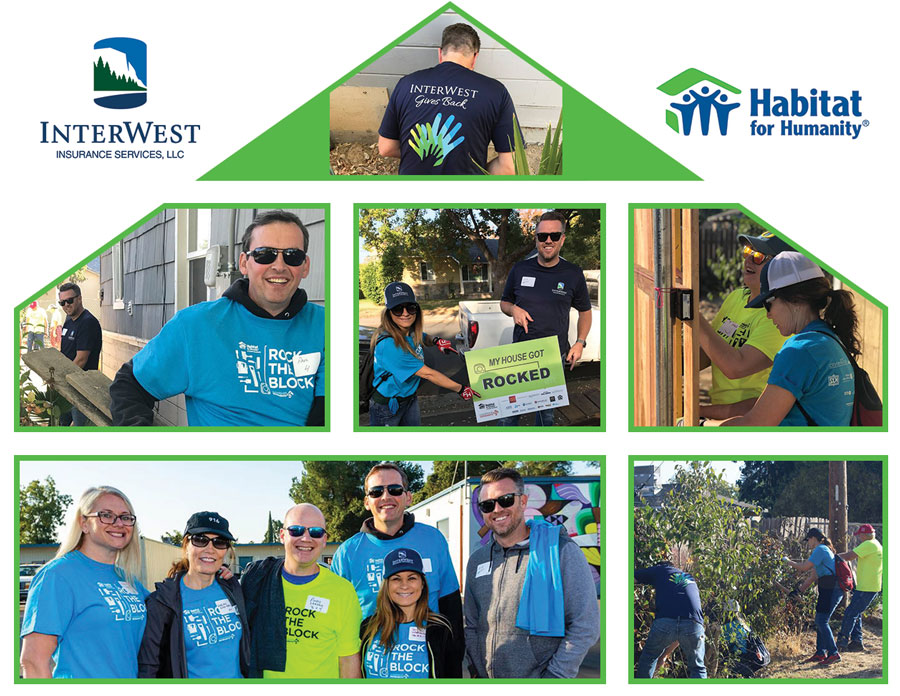 House=shaped Collage of IW Team helping at Habitat for Humanity